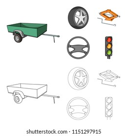 Caravan, wheel with tire cover, mechanical jack, steering wheel, Car set collection icons in cartoon,outline style bitmap symbol stock illustration web.