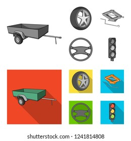 Caravan, wheel with tire cover, mechanical jack, steering wheel, Car set collection icons in monochrome,flat style bitmap symbol stock illustration web.