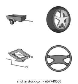 Caravan, wheel with tire cover, mechanical jack, steering wheel, Car set collection icons in monochrome style raster, bitmap symbol stock illustration web.