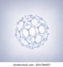 Carbon buckyball molecule. Fullerene nanoparticles structure 3d illustration concept.