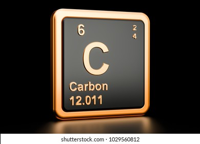 Carbon C, chemical element. 3D rendering isolated on black background