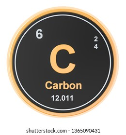 Carbon C chemical element. 3D rendering isolated on white background