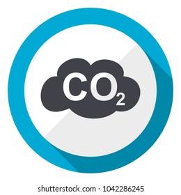 Carbon dioxide blue flat design web icon