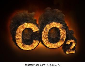 Carbon dioxide emissions concept illustration
