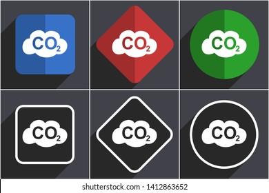 Carbon dioxide set of flat design web icons in 6 options