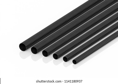 Carbon fiber tubes 3d rendering on the model pipes is not a white background.