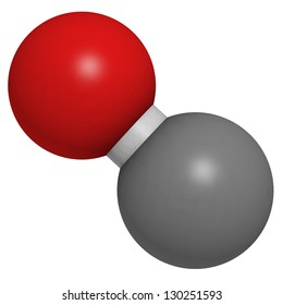 Carbon monoxide (CO) toxic gas molecule, chemical structure. CO is a highly toxic gas and CO intoxications are frequently caused by malfunctioning fuel-burning heaters. Atoms represented as spheres