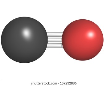 Carbon monoxide (CO) toxic gas molecule, chemical structure. CO is a highly toxic gas and CO intoxications are frequently caused by malfunctioning fuel-burning heaters.