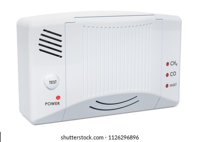 Carbon monoxide detector, 3D rendering isolated on white background