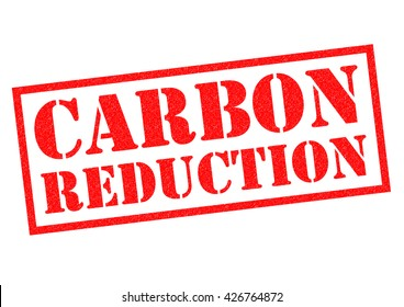 CARBON REDUCTION red Rubber Stamp over a white background.