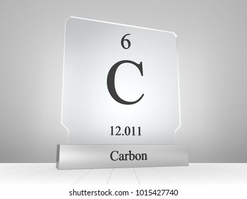 Carbon symbol on modern glass and metal icon 3D render