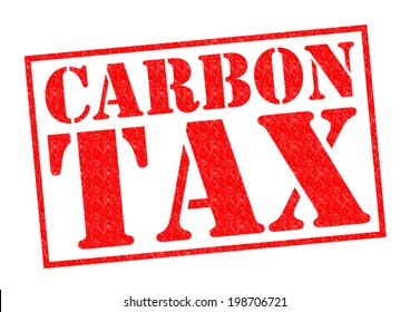 CARBON TAX red Rubber Stamp over a white background.