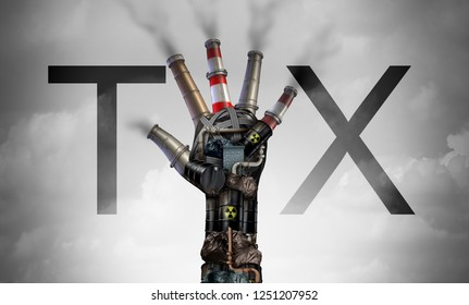Carbon tax symbol of energy as oil and gas price increase and taxes on coal plants and nuclear fuel power plant shaped as a hand as a concept for environmental tariffs with 3D illustration elements.