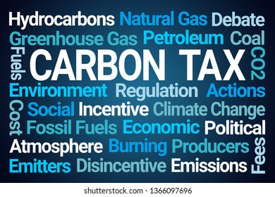 Carbon Tax Word Cloud on Blue Background
