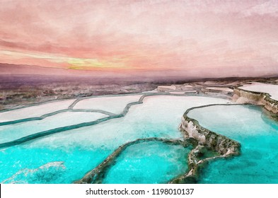 Carbonate travertines the natural pools during sunset, Pamukkale, Turkey. Water color painting on canvas style.