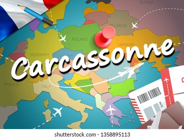 Carcassonne city travel and tourism destination concept. France flag and Carcassonne city on map. France travel concept map background. Tickets Planes and flights to Carcassonne holidays French