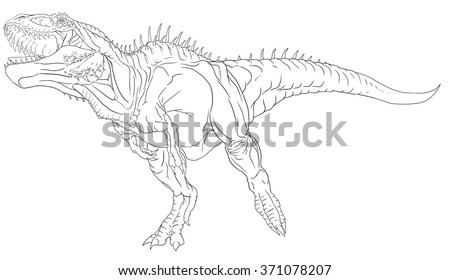 Royalty Free Stock Illustration Of Carcharodontosaurus Line Drawing