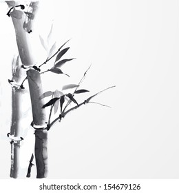Card with bamboo on white background in sumi-e style. Hand-drawn with ink.