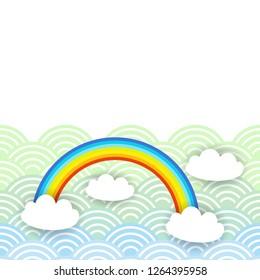 Card banner design Kawaii white clouds pattern on blue mint orange japanese wave rainbow background.