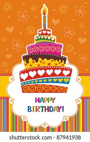 card with birthday cake.  Illustration