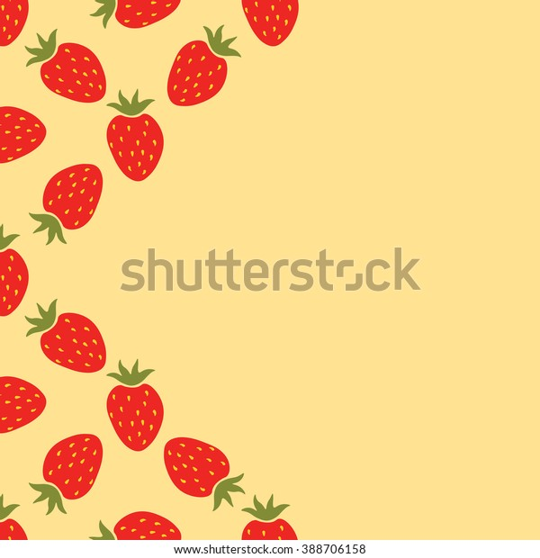 Card Cartoon Red Strawberry Empty Space Stock Illustration 388706158