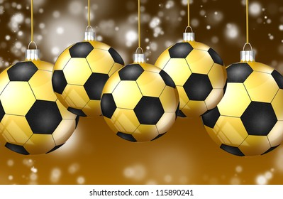 Card with Christmas soccer balls. illustration