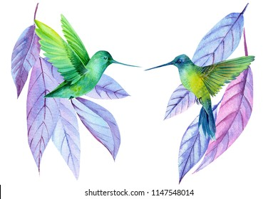 card with colibri and colored leaves, watercolor illustration,