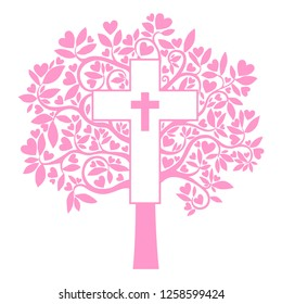 Card Design. Cross. Christian Symbol. Baptism Card Design with Cross. illustration