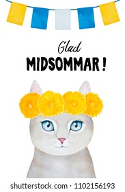 """Card design for Midsummer Holiday celebration: cute kitty crowned with dandelion wreath, bunting decor and text message in Swedish language """"Glad Midsommar!"""" (Happy Midsummer). Hand drawn water color."""
