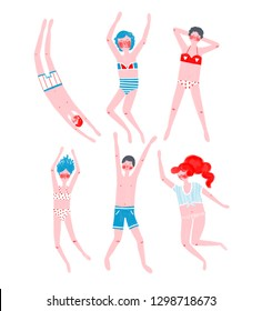 Card with different swimmers in swimsuits posing.