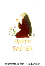 Card with the Easter theme. Mary Magdalene is sitting with the red egg in hands, in sunshine.