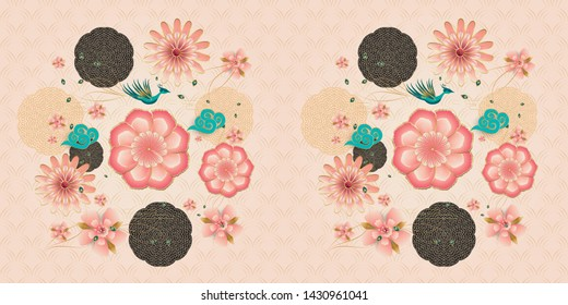 Card floral elegant peony, blossom sakuras. Spring peach flowers garden, peacock flying, pink flowers, clouds. Chinese traditional ornamental floral pattern, Fortune luck symbol paper art style banner