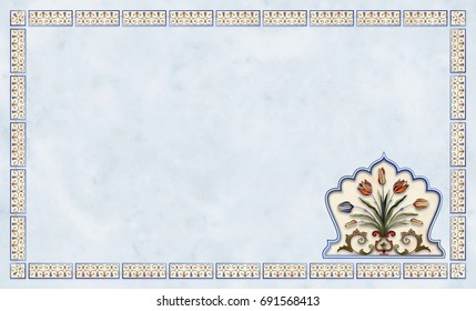 card with floral frane on blue and yellow marble
