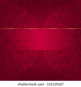 Card with a floral pattern. Luxurious deep red gift card. Raster copy