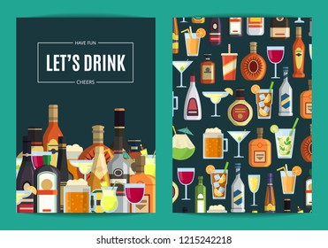 card, flyer or brochure template for bar, pub or liquor store with alcoholic drinks in glasses and bottles. Whiskey and beverage alcohol illustration