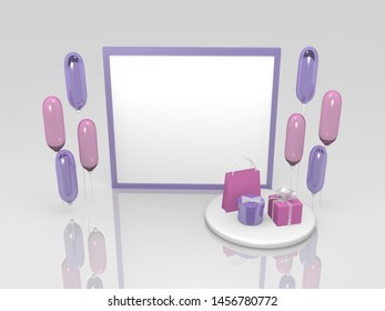 Card with gifts in purple and pink. With reflection, 3d rendering
