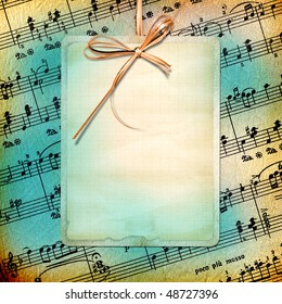 Card for invitation or advertisement with bow on the musical background