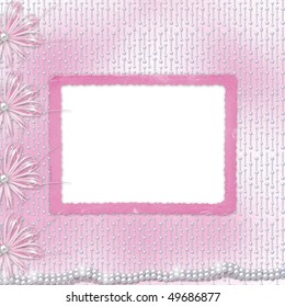 Card for invitation or congratulation with bow and ribbons