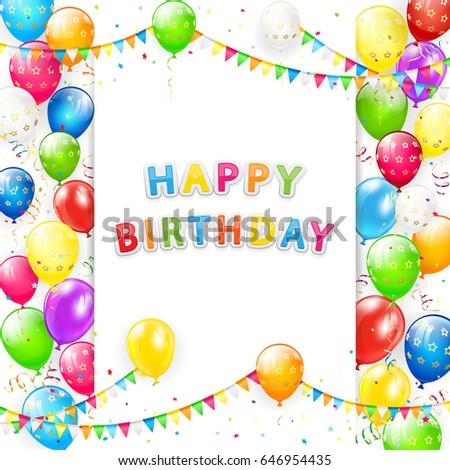 card lettering happy birthday frame flying stock illustration