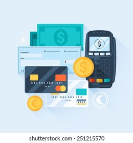 Card, Money, Coins and Cheque. Payment Methods Concept. Flat Style with Long Shadows. Clean Design. Raster Copy.