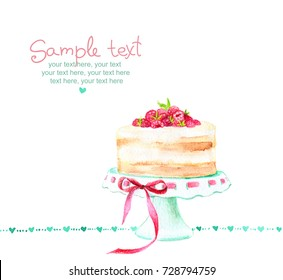 Card with painted watercolor cream cake with raspberries.