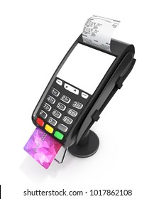 card payment terminal with an empty screen POS terminal with credit card and receipt isolated on white background 3d render