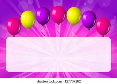 Card with shiny balloons