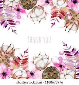 Card template with watercolor cotton flowers, pink florals and lotus boxes, hand painted on a white background, thank you card design, decoration postcard, wedding invitation