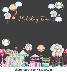 Card template with watercolor elements of amusement park, hand drawn isolated on a dark background, carousels, aerostats, air balloons and other