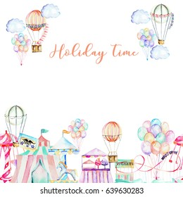 Card template with watercolor elements of amusement park, hand drawn isolated on a white background, carousels, aerostats, air balloons and other