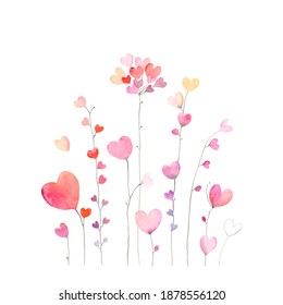 Card for Valentine's day or birthday with flowers of colorful hearts. Watercolor holiday illustration on white background.