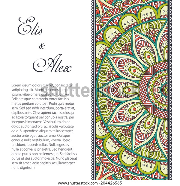Card. Vintage decorative elements. Hand drawn background. Islam, Arabic, Indian, ottoman motifs.