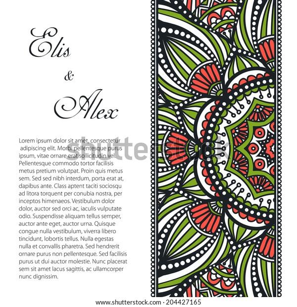 Card. Vintage decorative elements. Hand drawn background. Islam, Arabic, Indian, ottoman motifs.