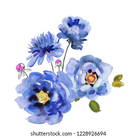 card with watercolor blue flowers. Aquarelle wild flower for background, texture, wrapper pattern, frame or border.